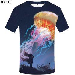 Ubur-ubur KYKU Merek T Kemeja Pria Ruang T-shirt Kemeja Imajinasi 3d T-shirt Hewan Tops Lucu T Shirts 2017 Musim Panas Hip Hop
