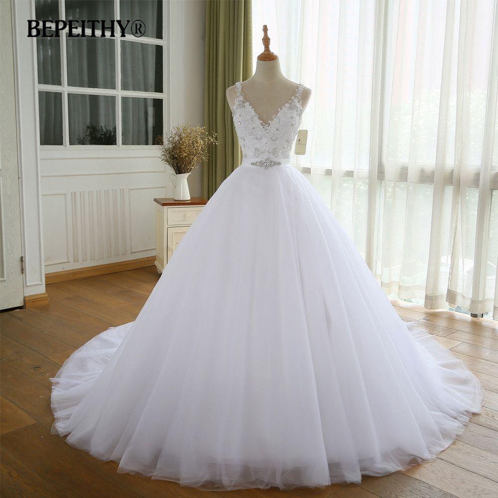 BEPEITHY V-ausschnitt Vintage Hochzeit Kleid Mit Gürtel Vestido De Novia Casamento Gefrieste Brautkleider 2017 Ballkleid