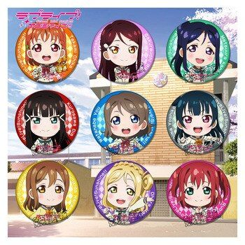 1pcs  58MM Anime Badge Love Live! Lovelive Sunshine!! Aqours Tsushima Yoshiko Full members BADGE Pins BROOCH Kawaii Badge