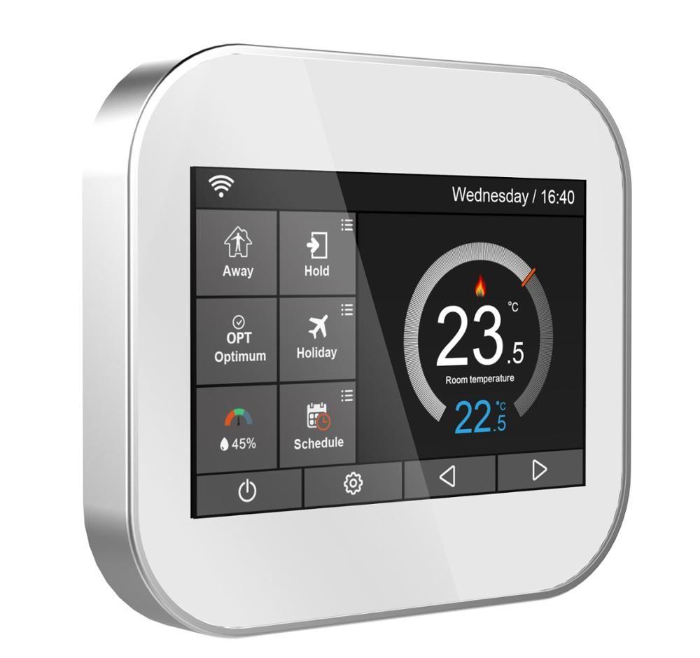 Wifi farbe touchscreen thermostat für electrlc heizung 16A mit Englisch/Russisch/Polnisch/Tschechische/Italienisch/spanien von android IOS telefon