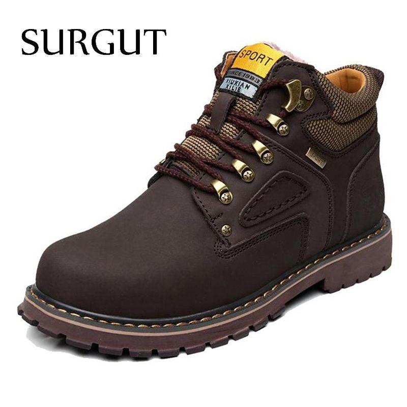 SURGUT Marca Súper Caliente del Invierno de Los Hombres de Cuero Hombres de Goma Resistente Al Agua Botas de Botas para la nieve Ocio Inglaterra Retro Zapatos de Los Hombres Grandes tamaño