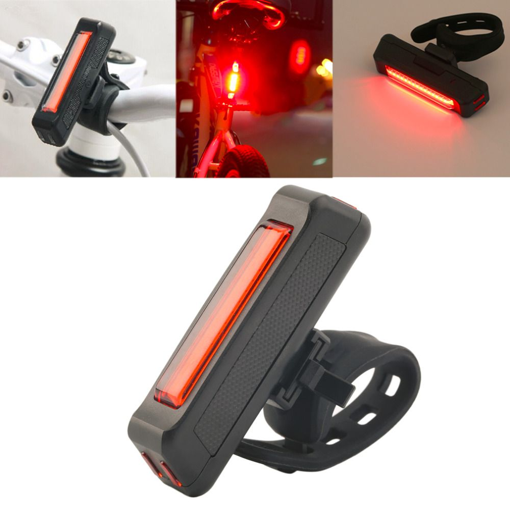 USB Rechargeable Bike Bicycle Light Rear Back Safety Tail Light Red New