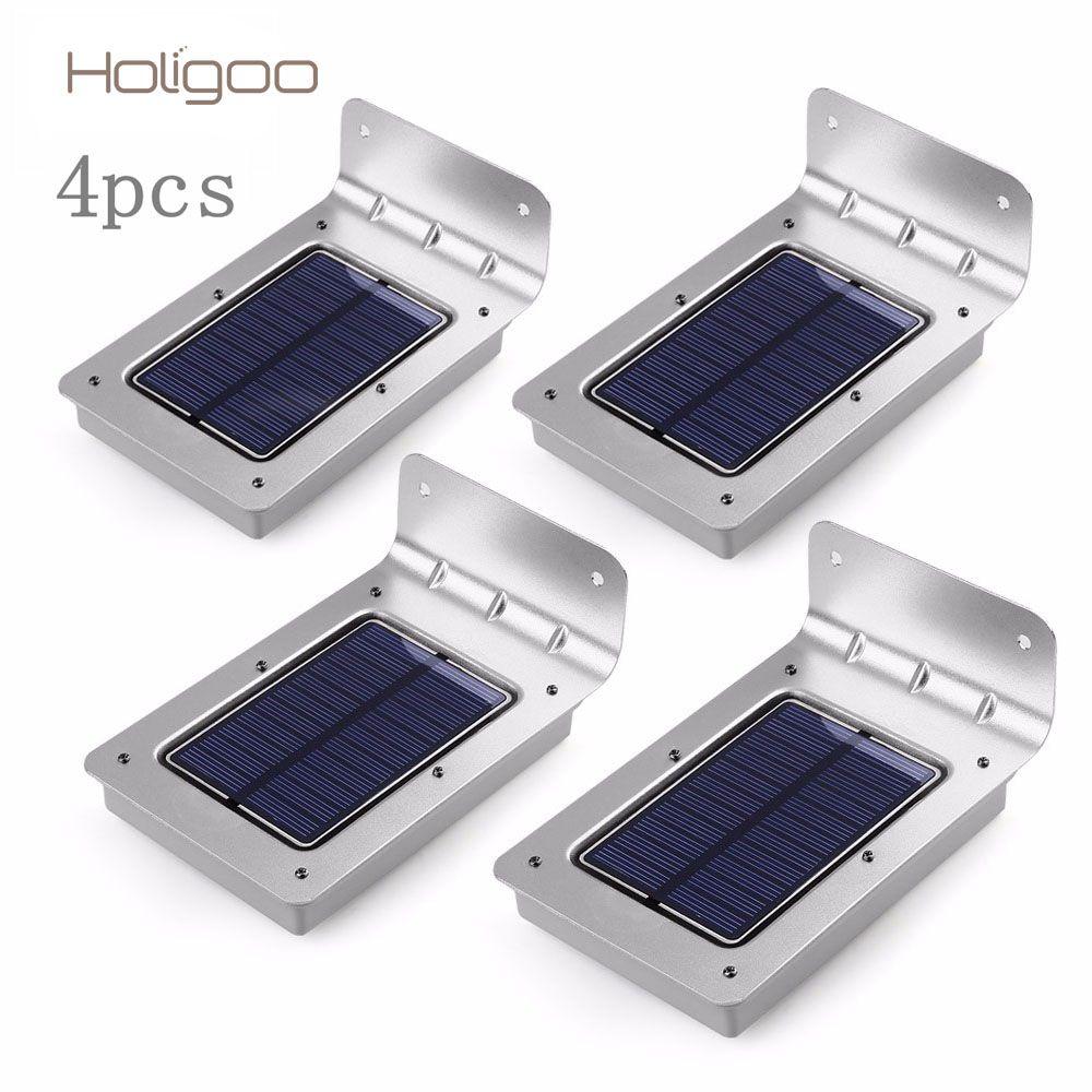 Holigoo 4pcs LED Solar Light 16 LED Outdoor Wireless Solar Powered Sensor Solar Lamp/ Wall lamp/ Security lights/Garden Light