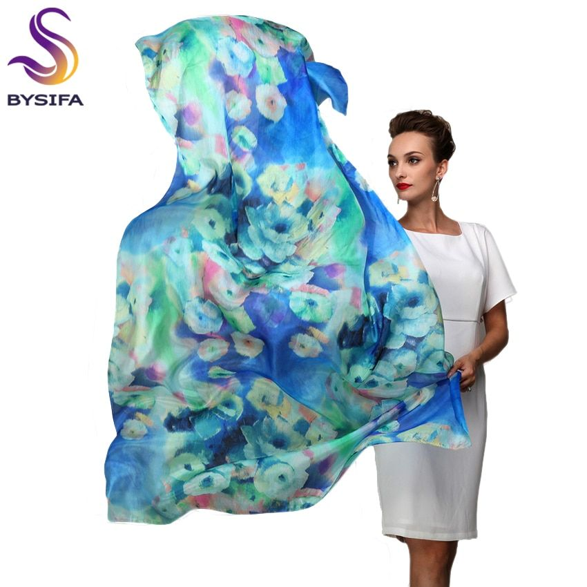 <font><b>2016</b></font> Women Winter Long Scarf Shawl Spring Autumn Female Blue Silk Scarves Printed Summer 100% Mulberry Silk Beach Cover-ups