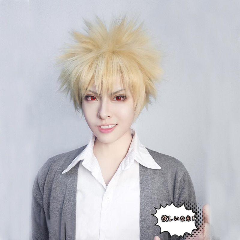 IHYAMS Anime mon héros académique bakou pas de héros Bakugou Katsuki Bakugo court lin blond résistant à la chaleur Cosplay Costume perruque