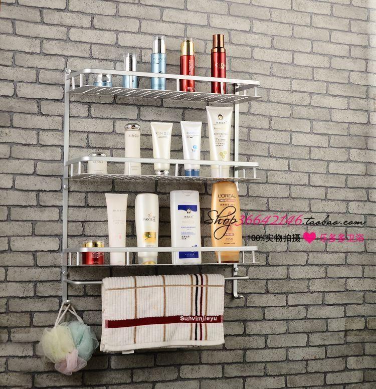 60cm Space aluminum bathroom shelf compartment blue three layer tape rod hook broadened alaminium shelf quartet
