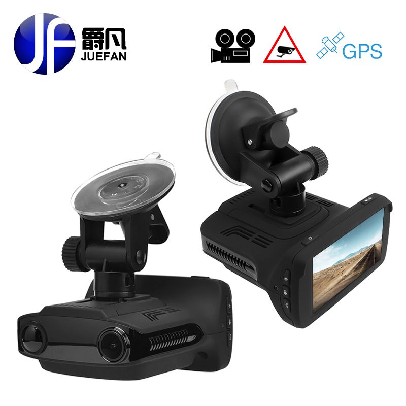 JUEFAN Hot Russia car dvr radar detector GPS 3 in 1 Multifunction full hd 1296P video cam camera Speed display reminder dash cam