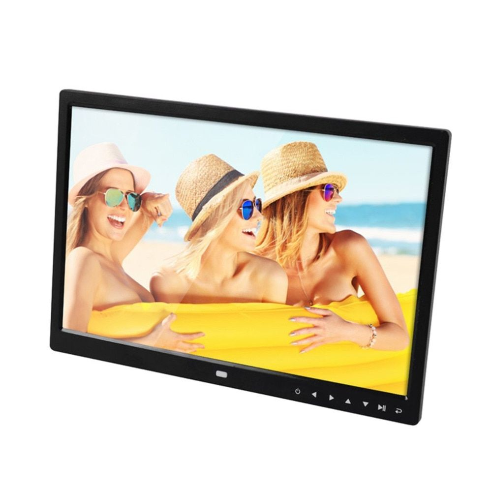 Digital Photo Frame Electronic Album 15 Inches Front Touch Buttons Multi-language LED Screen Pictures Music Video Perfect Gift