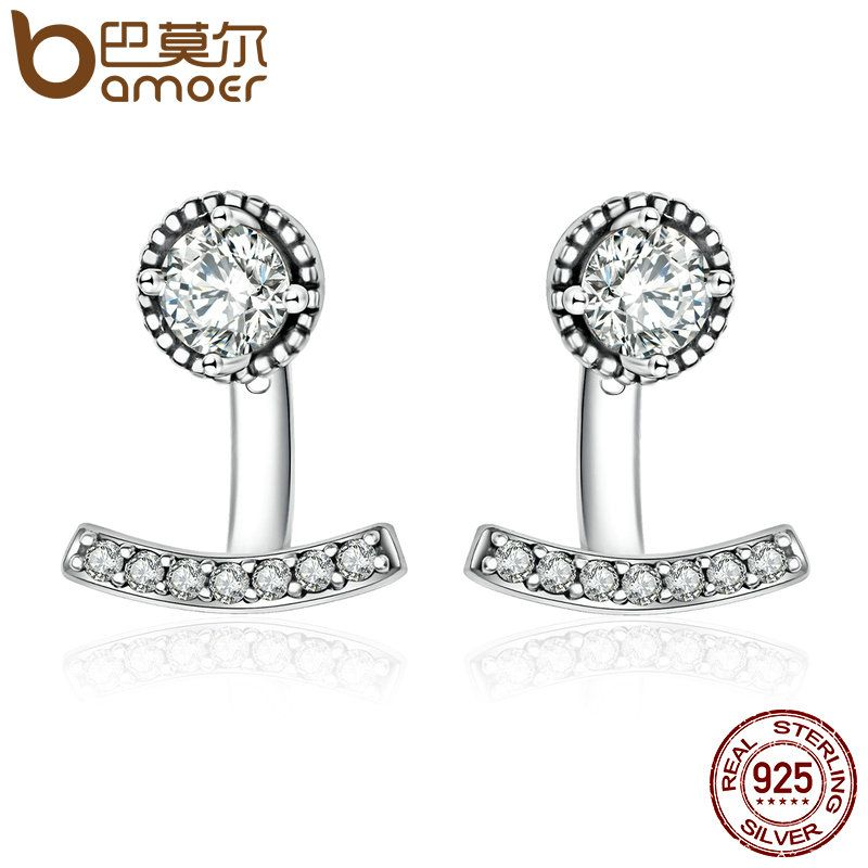 BAMOER Authentic 925 Sterling Silver Abstract Elegance, Clear CZ Stud Earrings for Women Sterling Silver Jewelry Bijoux PAS505