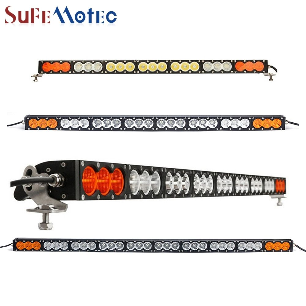SufeMotec 300W 270W Led Light Bar High Power Single Row Fog Lamp for OffRoad Truck SUV 4WD Combo White Amber Driving Headlight
