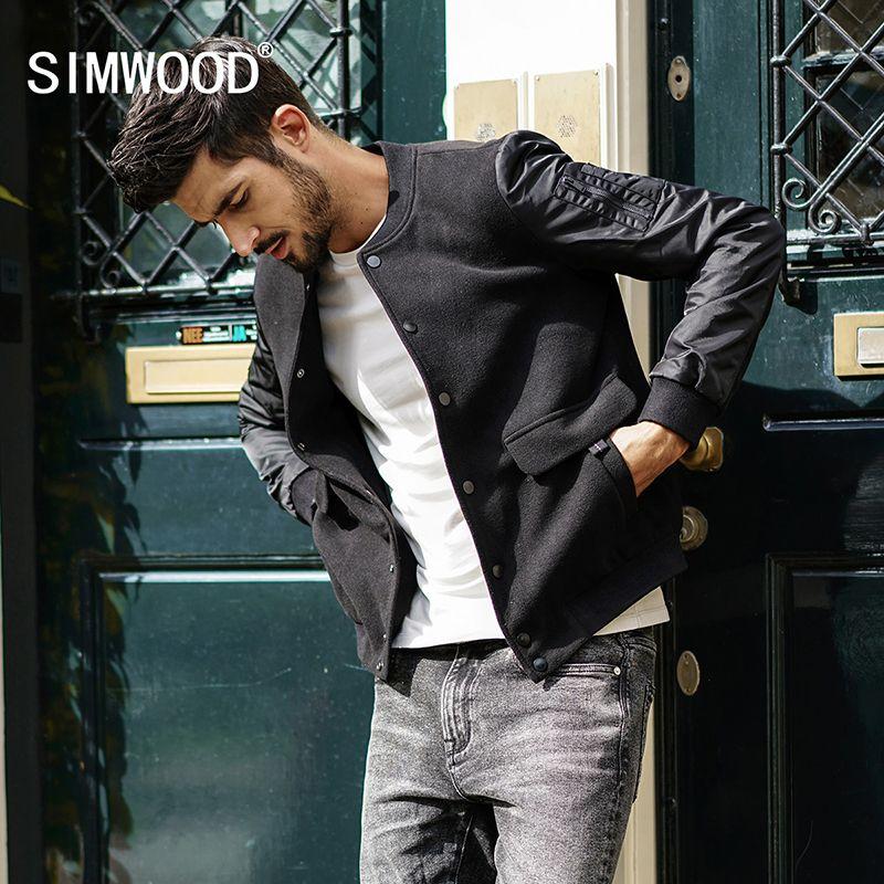 SIMWOOD 2018 Brand Fashion Spring Slim Jacket Men Fitness Baseball Jacket Cotton Outerwear Plus Size Coat High Quality JK017014