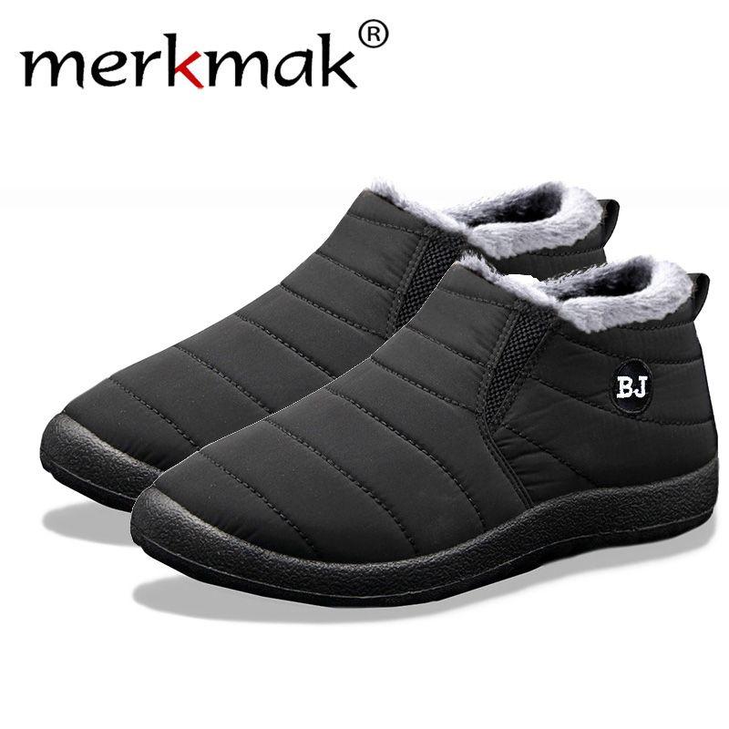 Merkmak nouvelle mode Hommes D'hiver Chaussures Solide Couleur bottes de neige En Peluche À L'intérieur Fond Garder Au Chaud Imperméable chaussures de ski Taille 35-47