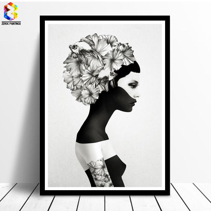 Nordique Décoration Fleur Affiche Et Gravures Fille Toile Peinture Noir Blanc Marianna Mur Art Photo pour Salon décor à la maison