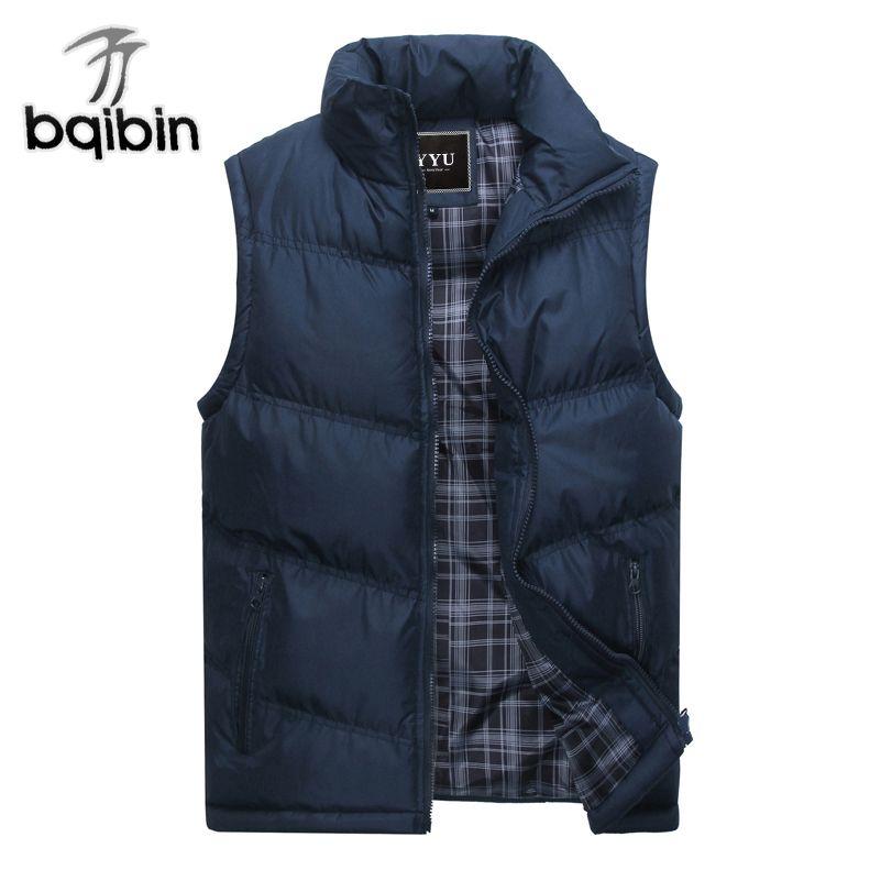 2017 New Brand Mens Jacket Sleeveless Vest Winter Fashion Casual Coats Male Cotton-Padded Men's Vest Men Thicken Waistcoat 3XL