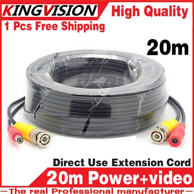 20 m Vidéo + power cordon 3.2FT HD cuivre Fils de Caméra de Sécurité pour CCTV DVR AHD Extension extension avec BNC DC 2in1 deux dans sur câble