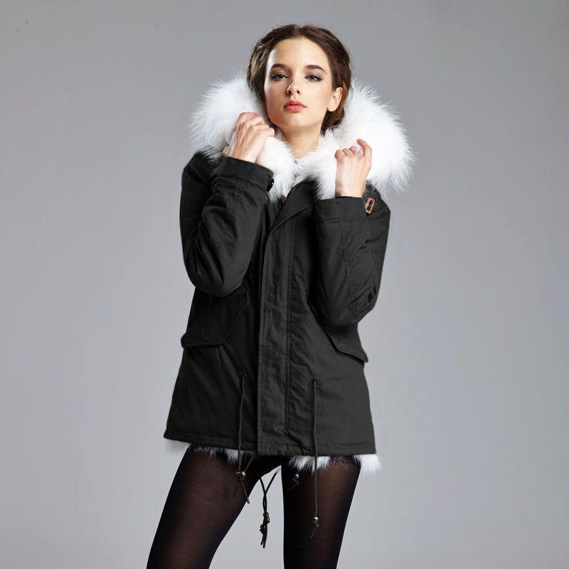 2017 Winter Warme Ätherisches Frauen Furs Jacke Langes haar Echt fuchspelz Jacke Kurzen Parka Große Waschbären Kapuze Mantel