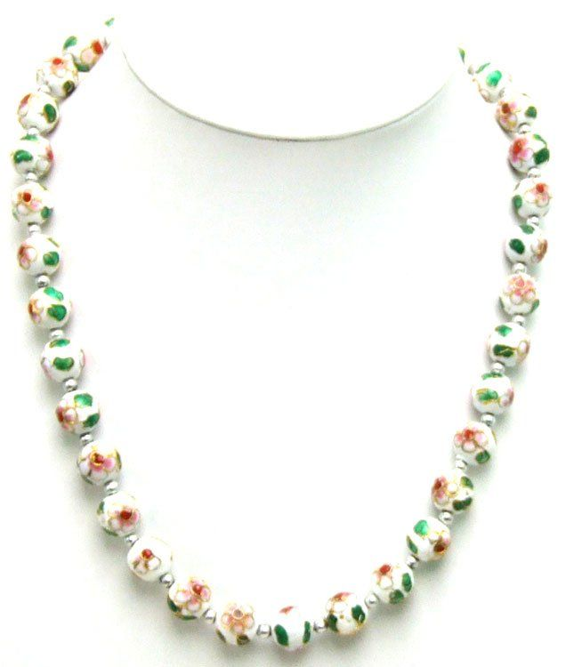 Qingmos Big 12mm White Cloisonne Round Beads & Tibetan Silver Beads 20 necklace-nec5364 Wholesale/retail Free shipping