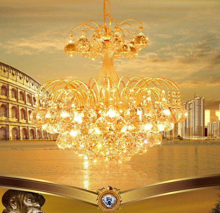 LED Kristall-kronleuchter Goldene Luxus Kronleuchter kronleuchter Moderne E14 Deckenleuchte Lichter Home Hotel Deco