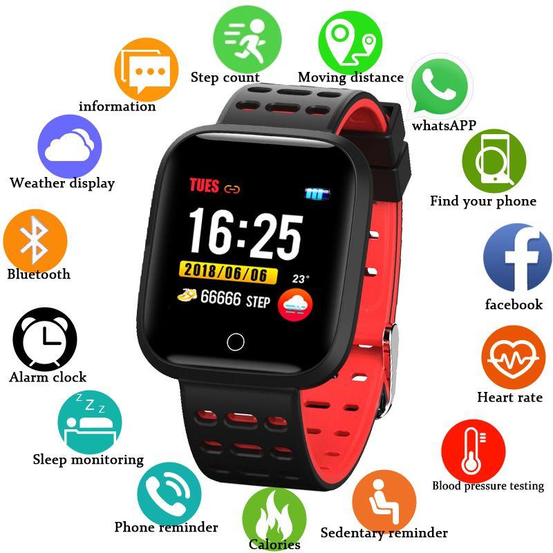 Sport Smart Armband IP68 Wasserdichte Uhr Fitness Tracker Herz Rate Blutdruckmessgerät Mehrere Sport Modus Uhr Für Android IOS