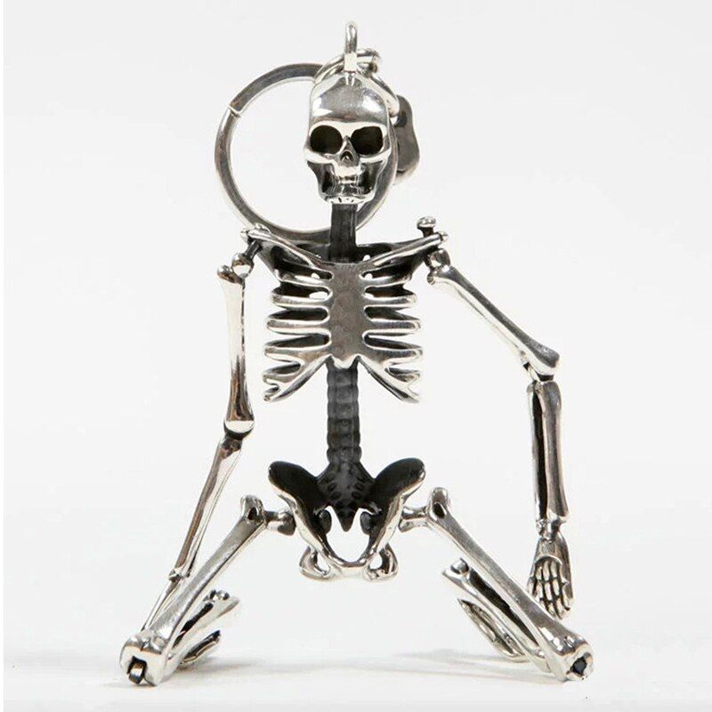 Foldable skeleton pendant key chain for men women antique silver color metal alloy skull bag charm key ring car keychain keyring