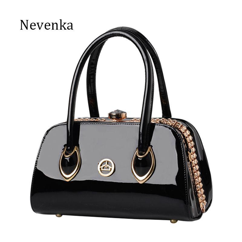 Nevenka Fashion Women Evening Bag Famous Brand Designer Bags Patent Leather Rhinestones Bag Socialite Crossbody Bags Handbags