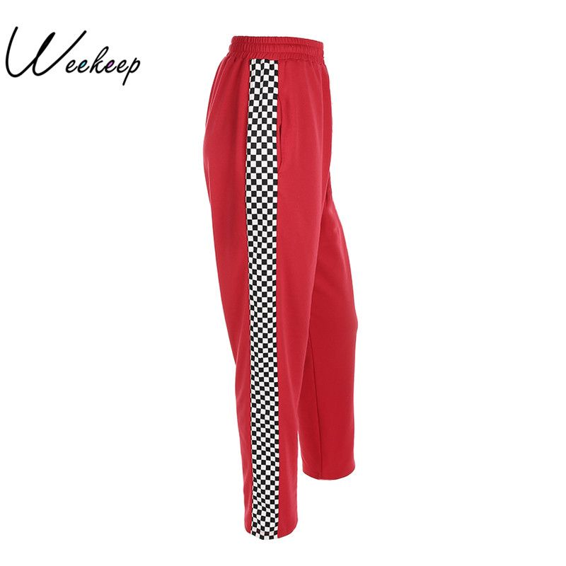 Weekeep Women 2017 Fashion Brand <font><b>Pantalon</b></font> Femme Side Checkerboard Sweatpants Red Knitted Womens Trousers Casual Loose Lady Pants