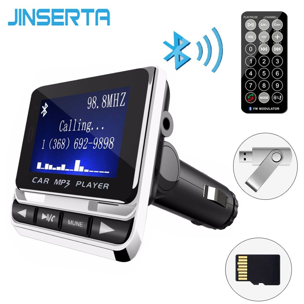 JINSERTA Bluetooth Car MP3 Player Wireless FM Transmitter LCD Screen Car Kit USB Charger Support Pendrive USB TF Line-in AUX