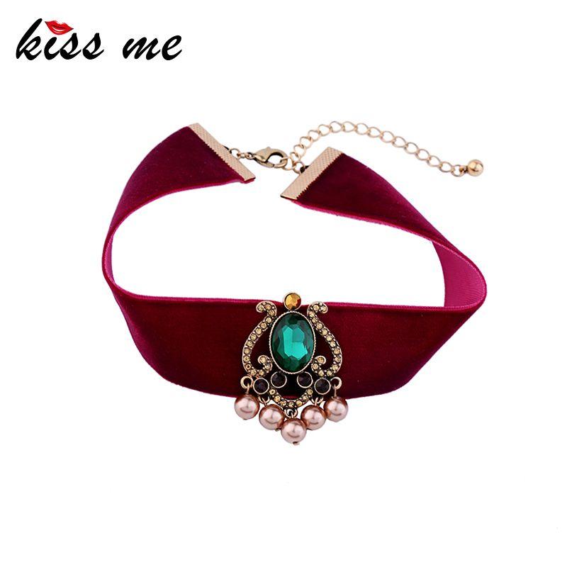 KUSS MICH Marke Red Velvet Choker Halskette 2017 Beliebte Grüne Geometrische Modeschmuck Chocker Valentinstag Geschenke