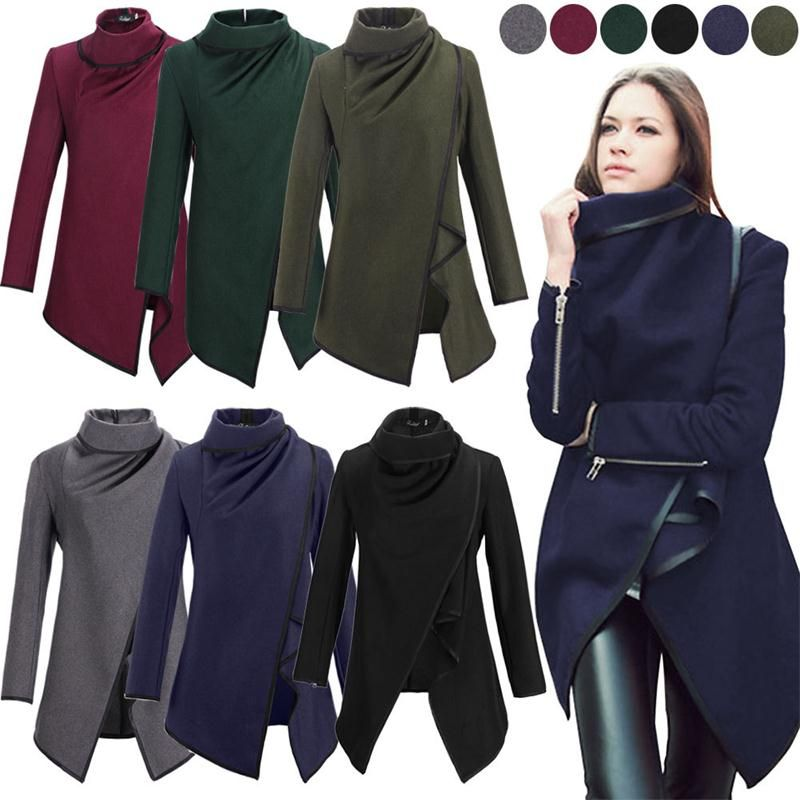 Casaco Feminino 2015 New Fashion Women Asymmetric Trench Women Winter Woolen Overcoat Woolen Coat 5 Colors Free Shipping