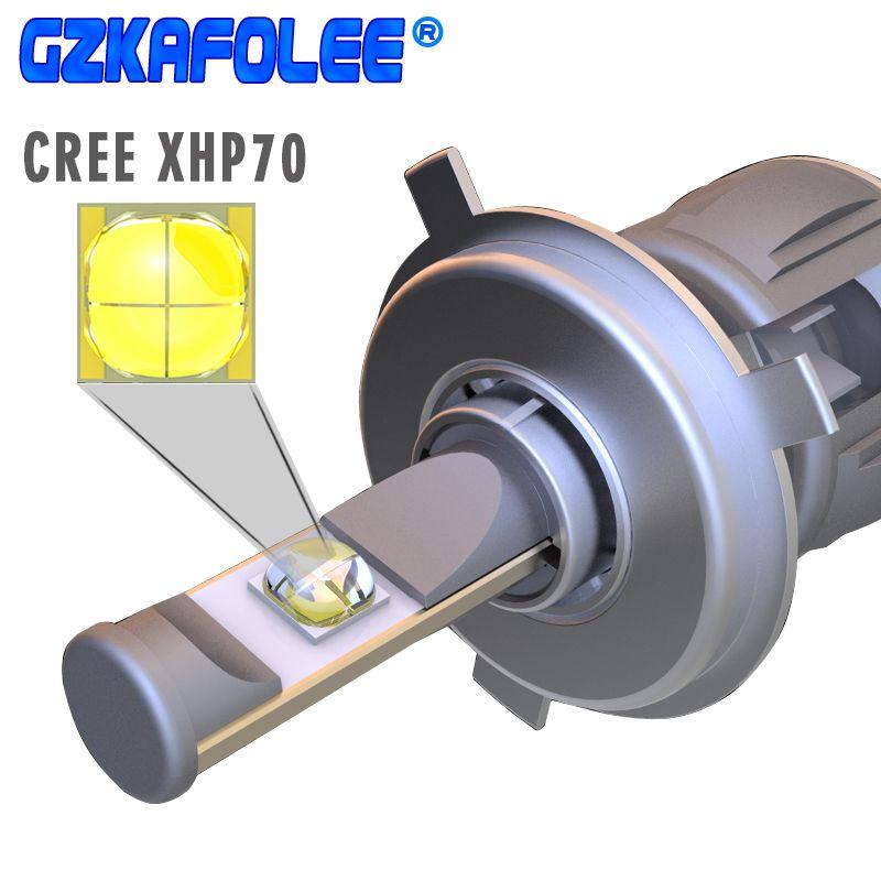 GZ KAFOLEE X70 CR-EE XHP70 Chips H4 Led H8 H9 H11 h4 led bulb 9005 9006 6000K 12V 120W Auto Headlight Bulbs