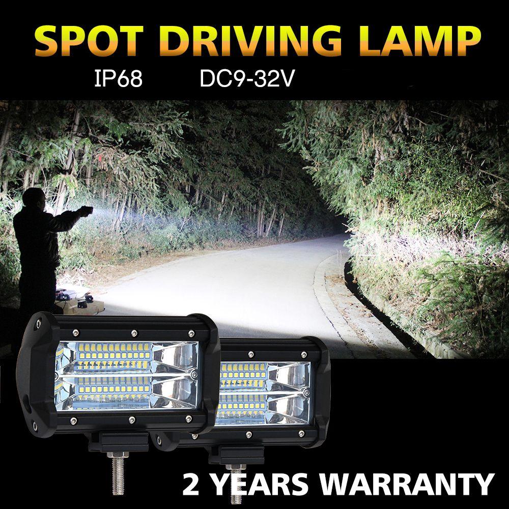 CO LIGHT 1 Pair 5'' 72W 144W Work Light Bar Spot 12V 24V IP68 6000K for ATV SUV KAMAZ GAZ ATV MINI BUS Led Light Bar Car Styling