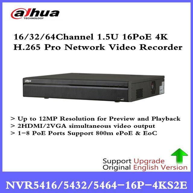 DH 4K NVR NVR5416-16P-4KS2E 16CH 16 poe NVR5432-16p-4KS2E 32ch 16 PoE NVR5464-16P-4KS2E 1-8 PoE Ports Support 800m ePoE & EoC