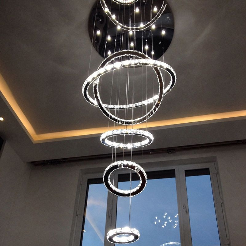 5 Rings Round Chandelier Crystal Ceiling Fixture Luxury Large Lighting Living Room Hotel Duplex House Villa Stairwell Lamp