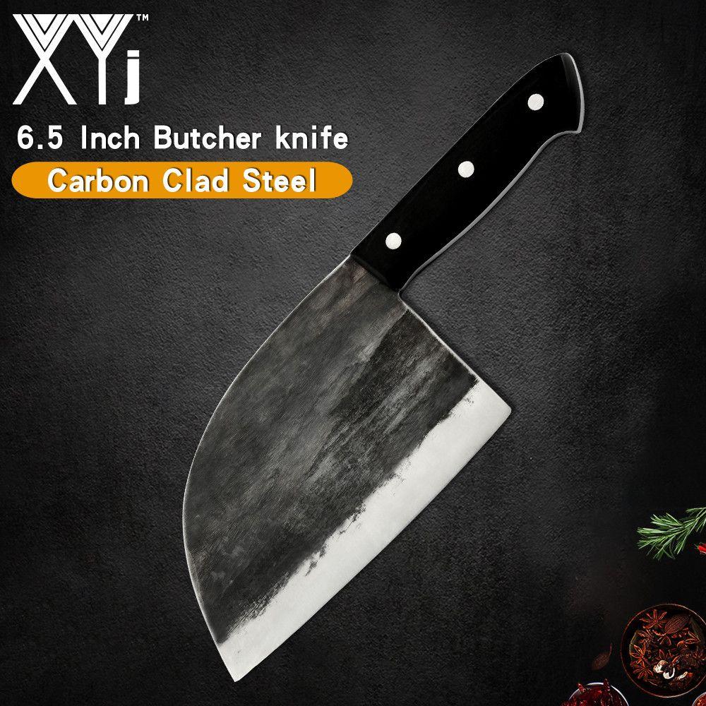 Couteau de cuisine de boucher d'acier inoxydable de XYj fait à la main forgé lame tranchante de 5mm poignée de Pakawood hache de couperet pour le poisson de poulet de dinde