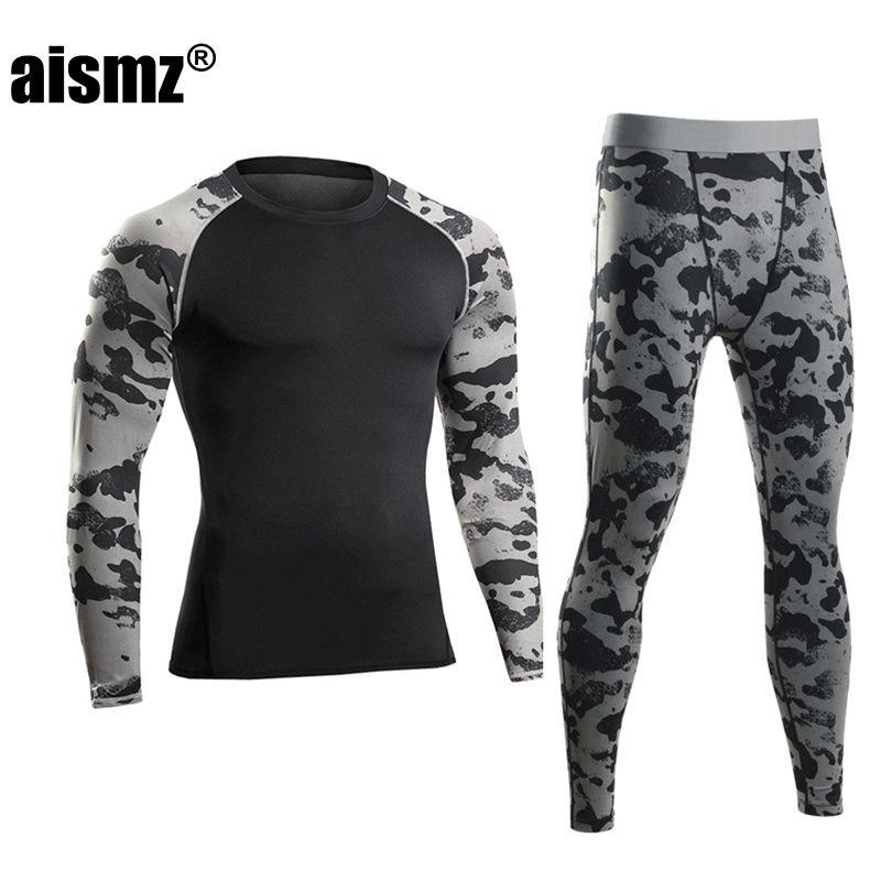Aismz Для мужчин Pro сжатия Кальсоны для женщин Фитнес зима быстросохнущая gymming мужской осень спортивные Наборы для ухода за кожей работает тре...