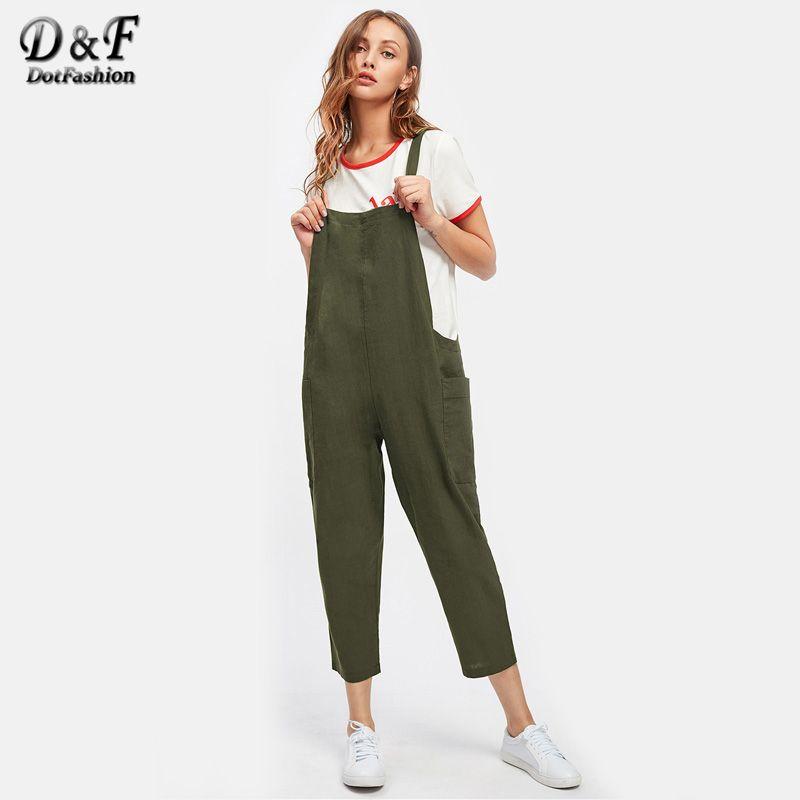 Dotfashion Pocket Side Cross Back Overall Jumpsuit Women <font><b>Green</b></font> Strap Pants 2017 Sleeveless Summer Plain Jumpsuit