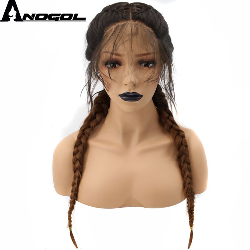 Anogol Brown Ombre Dark Roots Long Double Braids High Temperature Fiber Synthetic Braided Lace Front Wig With Baby Hair Wigs