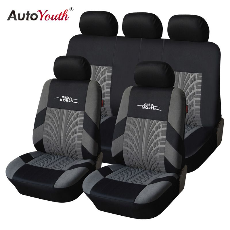 AUTOYOUTH Brand Embroidery Car Seat Covers Set Universal Fit Most Cars Covers with Tire <font><b>Track</b></font> Detail Styling Car Seat Protector