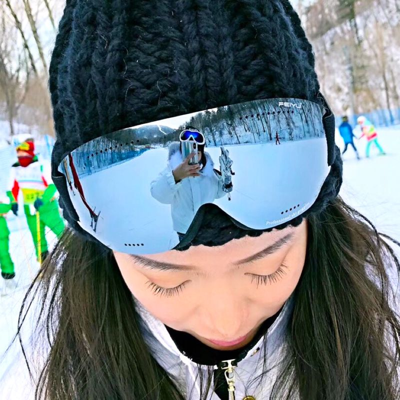 Homme femme HD Ski Lunettes UV400 Anti-Brouillard Ski Lunettes Hiver Coupe-Vent lunettes pour snowboard lunettes de Ski Snowboard Lunettes