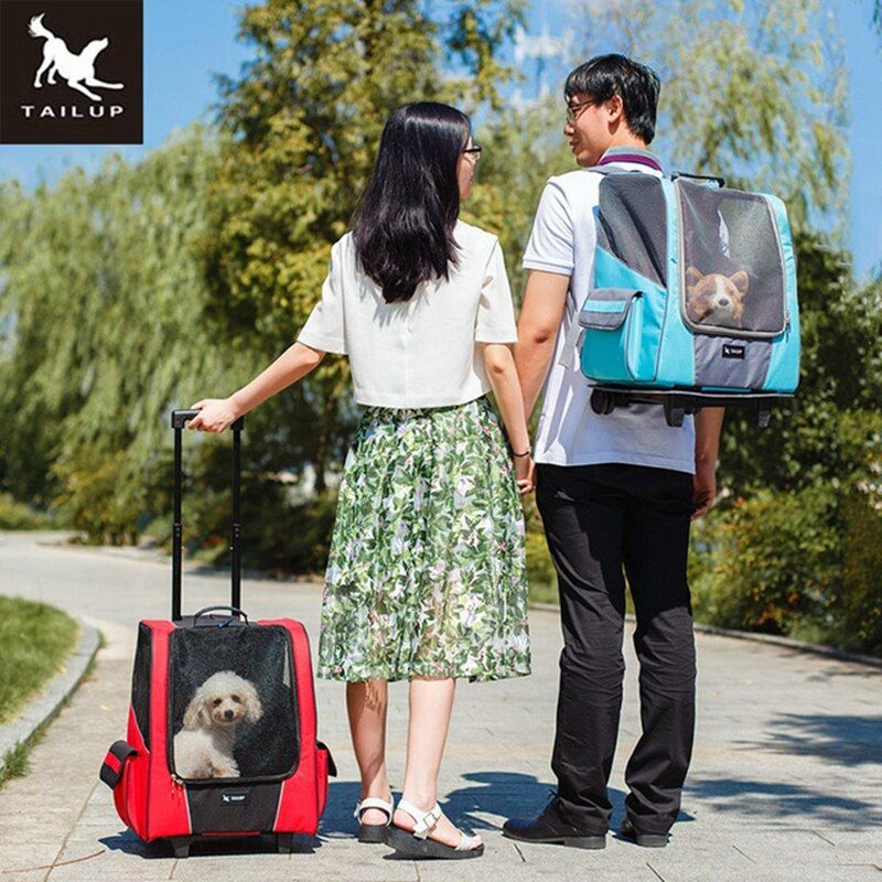 TAILUP Small Pet dog Wheel Carrier Dog Portable Strollers Backpack Breathable Puppy Roller Luggage Car Travel Transport Bag