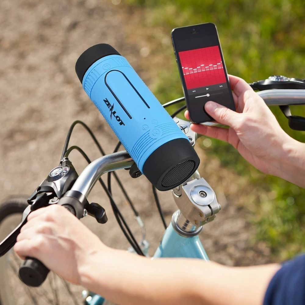 Zealot Bluetooth Speaker Bicycle Column fm Radio Outdoor Small Portable Wireless Speakers Power Bank+Flashlight +Bike Mounting