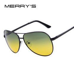 Мужские солнечные очки ночного видения MERRYS, солнцезащитные очки с поляризацией, для вождения, 100% UV400