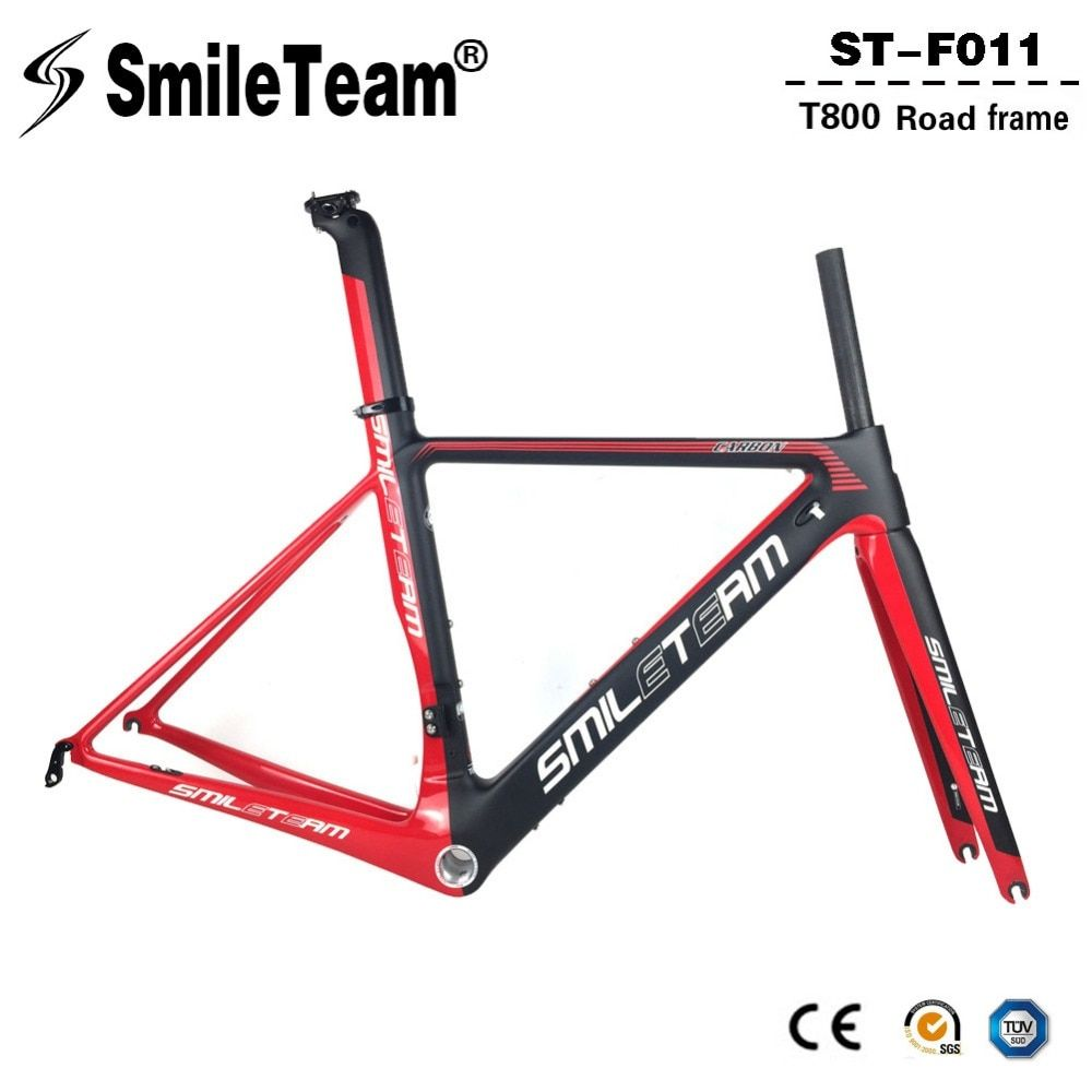 SmileTeam 2018 New BSA Carbon Road Bike Frameset T800 Carbon 700C Racing Bicycle Frame With Fork Seatpost 2 Year Warranty