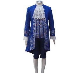2017 Film la belle et la Bête Costume Bête Cosplay Bleu Gentleman Outfit Hommes Halloween Carnaval Vêtements Custom Made