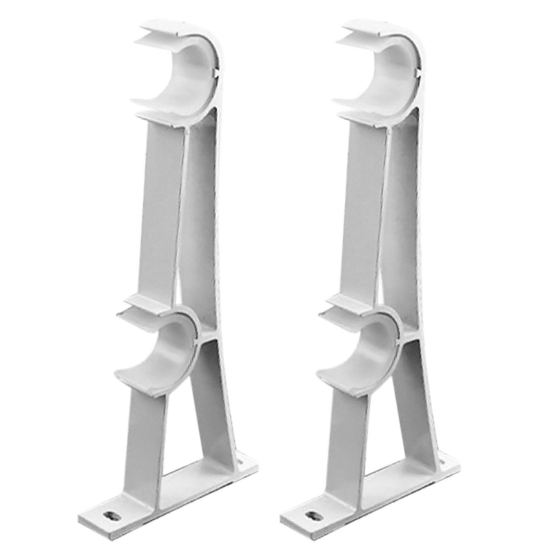 Haute Qualité Blanc 2 PCS 20.5x8 cm Rideau Tige Anneau Track Draperie Pôles Double En Alliage D'aluminium Support De Rideau titulaire Accessoires