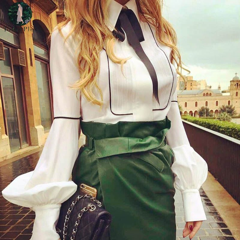 Women Blouse 2017 New Formal Women's Long Lantern Sleeved White Shirt Plus Size Blouses Ladies Office OL Style Shirts Blusas