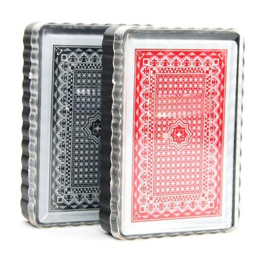 Hot ROYAUME-UNI 2 X ensemble de cartes 100% poker en plastique Taille cartes à jouer Moment de Plaisir