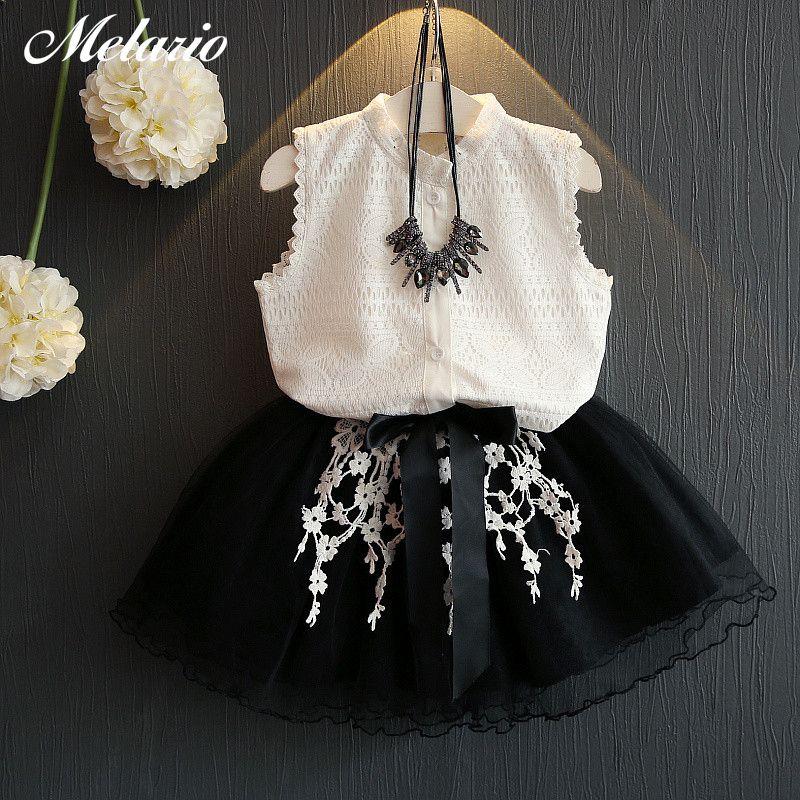 Enfants bébé Filles Vêtements Ensembles 2018 Nouveau D'été De Mode Style de Bande Dessinée Chaton Imprimé T-Shirts + Net Voile Robe 2 pcs Filles Vêtements