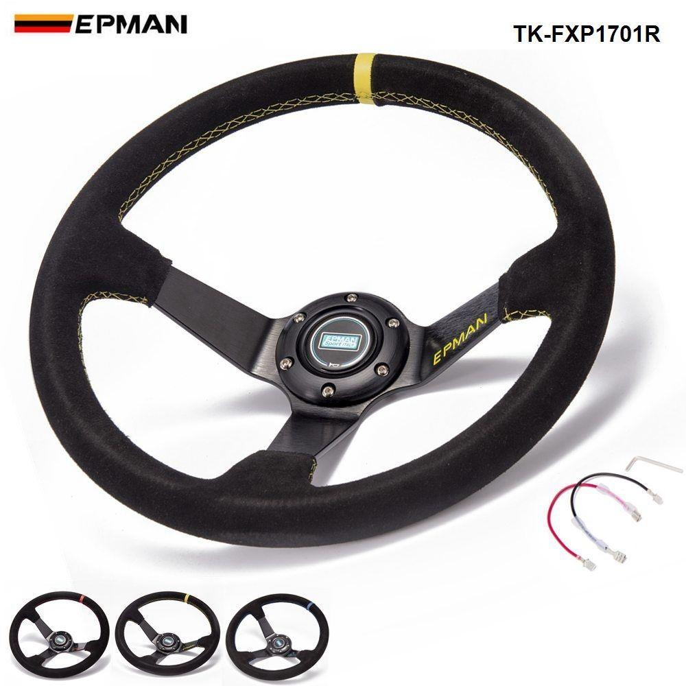 EPMAN Sport Car Aluminum 350mm Universal 3.5 Deep Dish Drift Racing Steering Wheels With Horn Button TK-FXP1701R