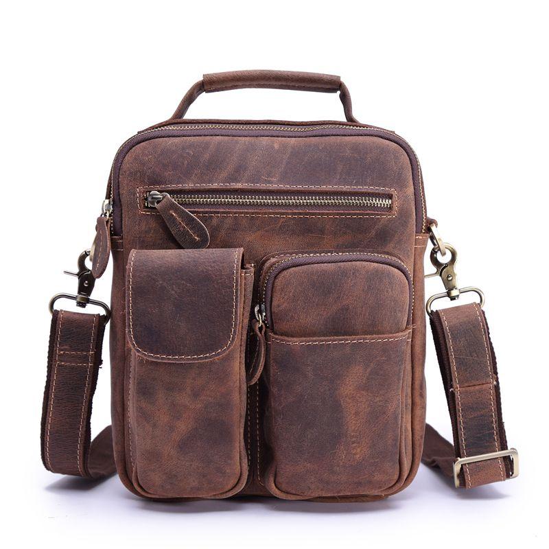 Men's Genuine Leather Shoulder Bags Handbag Male Crossbody Vintage Cowhide Business Messenger Sling Bag Briefcase Portfolio GIFT